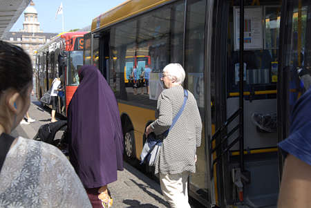 COPENHAGEN DENMARK- Bus passengers getting off the bus rute nr 2A       25 July  2014