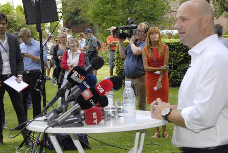 conservative: COPENHAGEN DENMARK- Soren Pape Poulsen(S�ren Pape Poulsen) new hand picked leader and chairman of danish conservative politrical  holds his first press conference  he present mayor in Viborg city hall and single and member of party as 15 years and he is