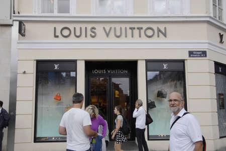 vuitton: COPENHAGEN DENMARK-  Louis Vuitton luxury store on stroeget amager torv         12 Auguest  2014   Editorial
