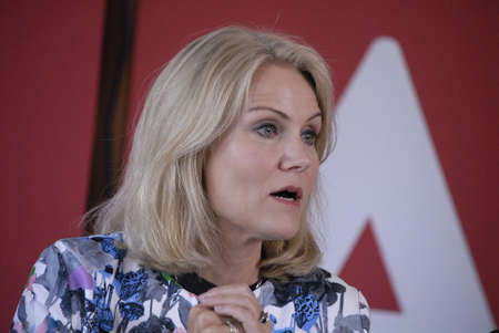 helle thorning schmidt: HELSINGORHELSINGØR DENMARK- Social democrat party hold summer meeting at LO skole (lo school)helsingor Ms.Helle Thorning-Schmidt danish prime minister and leader of danish sical democrat party  and other three minister joined her at press conference bef Editorial