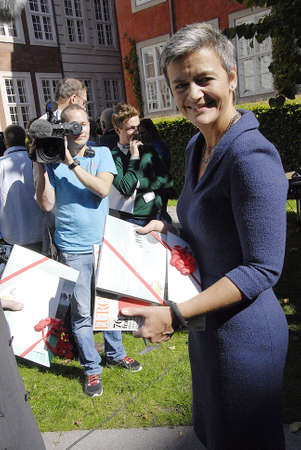 commissioner: COPENHAGEN DENMARK- Danish government Ms.margrethe Vestager former minister for Economy and chairwoman of danish Radical liberal party  government name Denmark of new EU_commissioner European Union Commissioner and she farewell today to ministry for econ