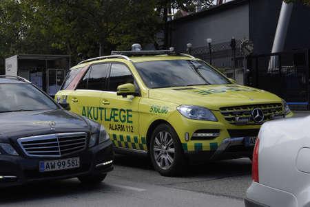 light duty: COPENHAGEN DENMARK-   Danish medical emergency auto amublance among trafic not blue light emergency duty transportation        1 sept.  2014  Editorial