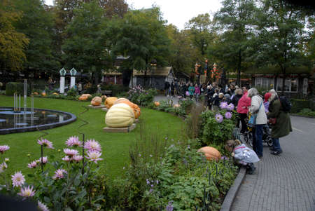 COPENHAGEN/DENMARK American tradion hs come in Tivoli garden pupkines contest and nr 1 and nr2 and nr.3 tivoli garden march through parkand children painted in various hawloween dress and colour hawloween during falls schools and indsutry vacations  trave