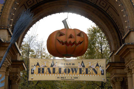 COPENHAGEN/DENMARK  American tradion hs come in Tivoli garden pumpkines contest and nr 1 and nr2 and nr.3 tivoli garden march through parkand children painted in various halloween dress and colour halloween during falls schools and indsutry vacations  tra