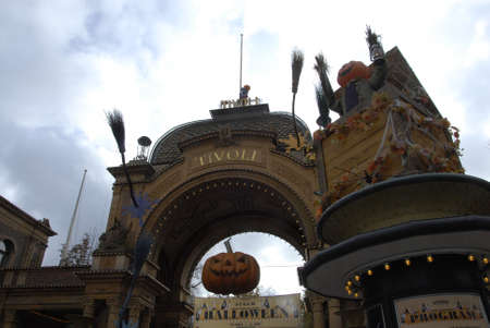 COPENHAGEN/DENMARK_ American tradion hs come in Tivoli garden pumpkines contest and nr 1 and nr2 and nr.3 tivoli garden march through parkand children painted in various halloween dress and colour halloween during falls schools and indsutry vacations  tra