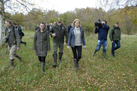 COPENHAGENDENMARK_Ms.Helle Thorning-Schmidt danish prime minister and Ms.kirtsen Brosbol(Brosbøl) danish minister for environment present today Vest amager natture park  at Kalvebod Faelled Natrure Park today amd met ith danish students and talk to press Editorial