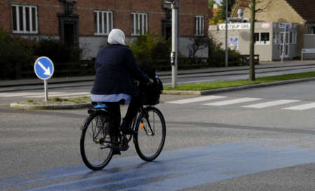 COPENHAGENDENMARK_   Female headcraf biker or bicyclest          20 October  2014