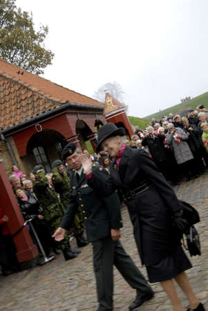 royality: COPENHAGENDENMARK_ Her Majesty the Queen Margrethe II of Denmark visist participates Danish army Kastelles 350 years birthday jubilee today on  the            01 November  2014