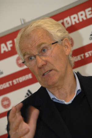 match head: BRONDBYCOPENHAGENDENMARK_Morten Olsen head couch of danish national football team holds press conference at Danish football Union to high his team player s European Master Denmarek vers Serbia football team game in EM qualification match in Partizan sta