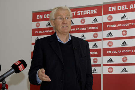 BRONDBY/COPENHAGEN/DENMARK_Morten Olsen head couch of danish national football team holds press conference at Danish football Union to high his team player s European Master Denmarek vers Serbia football team game in EM qualification match in Partizan sta Editorial
