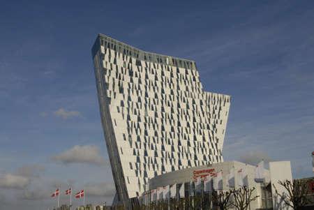 COPENHAGENDENMARK_Copenhagen Congress center nordic flags and hotel skybella or bella sky             09 November  2014