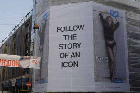 nus: COPENHAGENDENMARK_large billboard at illum department store on stroeget   Kylie on billboard for Sloggi at public bus stops  Ky�ie the story o an icon         11 November  2014