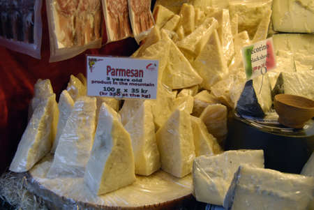 chese: COPENHAGENDENMARK_ Italian various kind of cheese display for sale during christmas session           14 November  2014