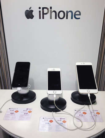 COPENHAGENDENMARK.    Iphone 5 and iphone6 display  for sale at internet provider store                15 November 2014 Editorial