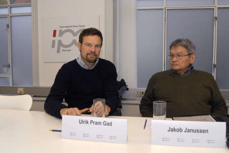 gad: COPENHAGENDENMARK_ Joint press conference by Jakob Janussen (born greenland) with danish Aarus university  at right eldlery gentleman on his right Ulrik Pram Gade from Copenhagen univeristy about General elections in Greenland on 28 November 2014  press  Editorial