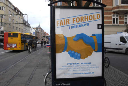 work place: COPENHAGENDENMARK_Blboard for fair play awareness stop social dumping on work place         21 November  2014