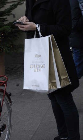 htc: COPENHAGENDENMARK_ Early christmas shoppers coming from magasine  magasin de nord  and consumers wih their shopping bags            22 November  2014