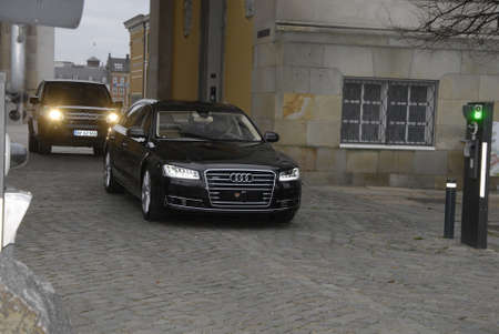 dat: COPENHAGENDENMARK_ Danish crown price Frederik driving away from H.M.The Queen Margrethe joint Queens cabnet ministers meeting with Queen Margrethe  meeting (Statesr�d)at christiansborg today on           26 November  2014
