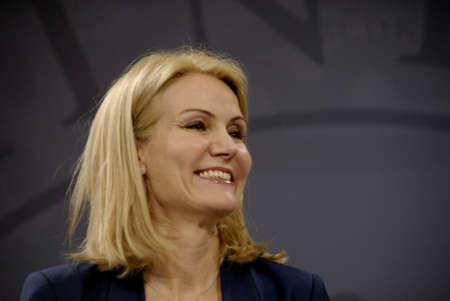helle thorning schmidt: COPENHAGENDENMARK_ Danish prime minister Ms.Helle Thorning-Scmidt social democrate and in center own her right Morten Ostergaard (Morten Ostergaard) minister for economy and home affairs on her left Gymnasier til fredtiden) at mirror hall pm ofice at chr