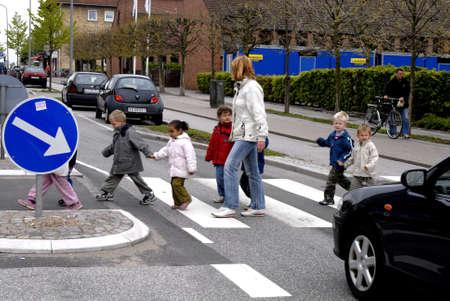 trafic: chuildren in trafic Copenhagen Denmark May 17,2006