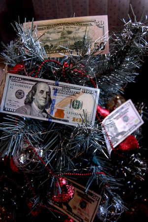 50 dollar bill: Lewiston . Idaho state. USA _us 50 dollar bill decorated at artifical christmas tree                15 December   2014.