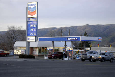 Lewiston . Idaho state. USA  _Chervon gas station and gas price is low in valley               15 December   2014. Editorial