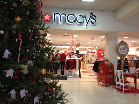 macys: Lewiston . Idaho state. USA _Macys decorated christmas tree with various christmas decoration items display for for christmas sale at Lewistn central mall                16 December   2014.