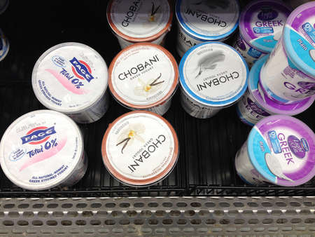 Clarkston. Washington state. USA _Chobani yogurt sells by the name greek and own by turkish immigrant Hamdi Ulukya family and sells in Wal mart store              17 December   2014.        hoto by Francis Joseph DeanDeanpictures) Editorial