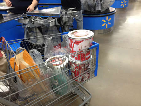walmart: Clarkston. Washington state. USA_Consumers shopping in Wal mart  walmart is open 24 hours               17 December   2014. Editorial
