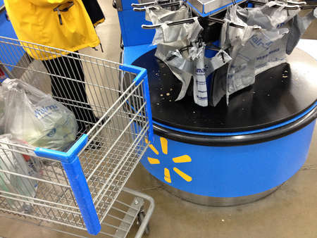 Clarkston. Washington state. USA_Consumers shopping in Wal mart  walmart is open 24 hour