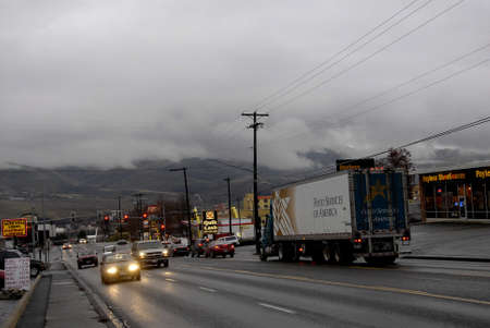 Lewiston . Idaho state. USA Traffic in rainy weather in  21st.street  valley today friday               19 December   2014.