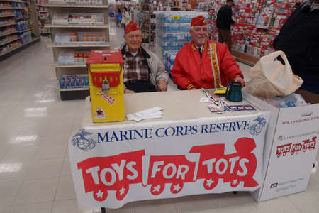 Lewiston . Idaho state. USA  USA Retired Marine Corps Reserve collect Toys for tots during christms and donate to children those may not have toys for christmas presents                20 December   2014.