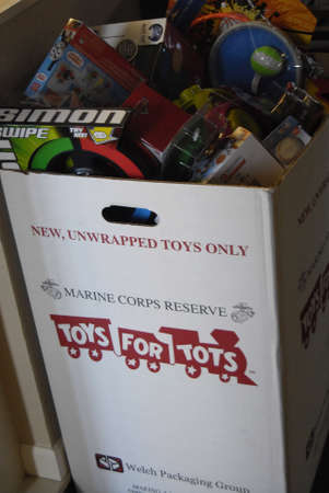 Lewiston . Idaho state. USA _USA Retired Marine Corps Reserve collect Toys for tots during christms and donate to children those may not have toys for christmas presents                21 December   2014.