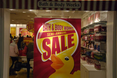 body work: Lewiston . Idaho state. USA  _Sale at Bath and body work after christmas celebrfation at Lewison cente mall              26 December   2014. Editorial
