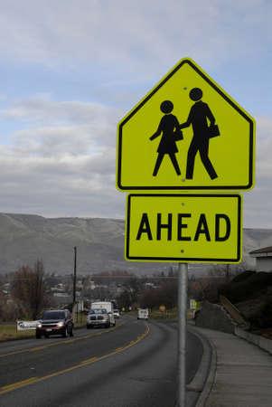 idaho state: Lewiston . Idaho state. USA_Pedestrain walking sign for vehicle drives in  traffic                26 December   2014.