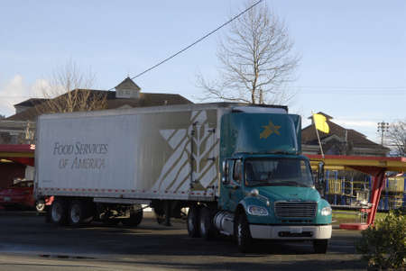 food state: Burkley. Washington state. USA _Food service of america delivery truck             29 December   2014. Editorial