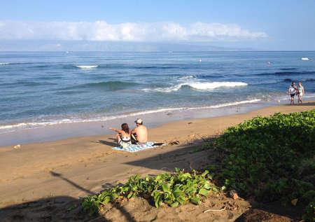 maui: Maui .Hawaii islands ,USA Sun bather oh maui beach          20 January 2015