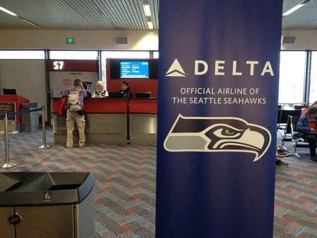 seahawks: Aeropuerto de Seattle. El estado de Washington .USA _usa Deltadesh en Seattle mensaje de negocios aeropuerto internacional de Delta Airlines oficiales de los Seattle Seahawks 27 de enero 2015