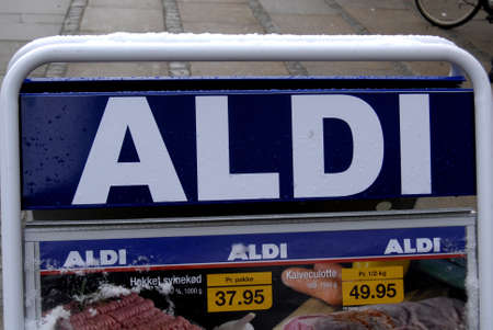 febuary: Copenhagen - Denmark _German Aldi grocery store in heart of danish catital                 02 Febuary 2015 Editorial