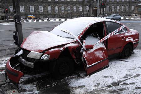 abandoned car: Copenhagen - Denamrk Accident abandoned car and police sealed car left light singal                   03 Febuary 2015
