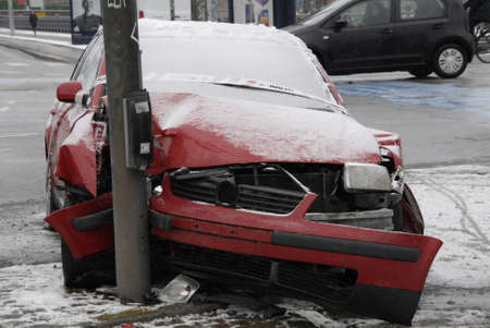 abandoned car: Copenhagen Denmark Accident abandoned car and police sealed car left light singal                   03 Febuary 2015