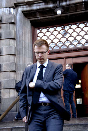 engel: Copenhagen-Denamrk  _Benny Engel bricht danish minister for tax and revune and social democrate departs from danish parliament Christiansborg after political meeting at parliament today on                05 Febuary 2015