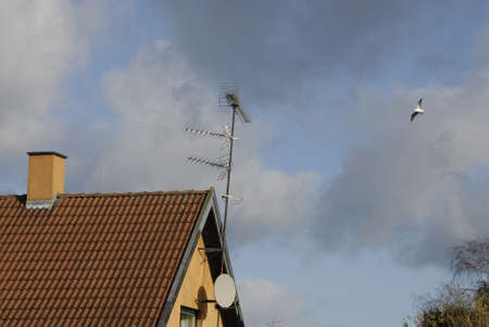 febuary: Copenhagen-Denamrk  _Cable digital tv taking place in danish home and very few still old tv and radio antaners on roof                 08 Febuary 2015