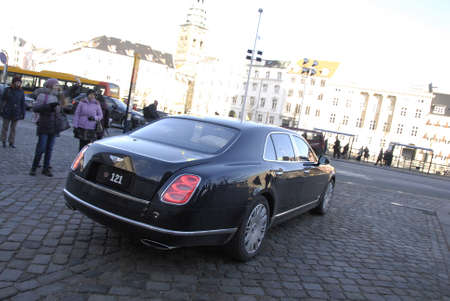 febuary: Copenhagen-Denamrk  _H.M.the queen Margrethe II of Denmrk departinf by royal car from Christiansborg (offenlig audiens )official  greeting to audience today on                 08 Febuary 2015