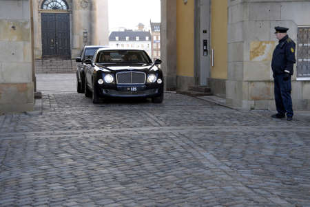 Copenhagen-Denamrk  _H.M.the queen Margrethe II of Denmrk departinf by royal car from Christiansborg (offenlig audiens )official  greeting to audience today on                 08 Febuary 2015