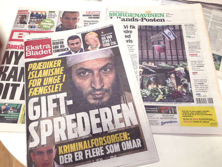 febuary: Copenhagen-Denamrk_Danish dailies with front pages stgroies on Terror attacked this last weeked                   18 Febuary 2015 Editorial