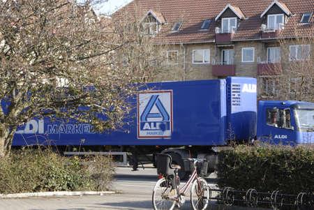 food chain: COPENHAGENDENMARK. 26 February 2015 -      Danish netto food chain and German food chain Aldi delivery trucks