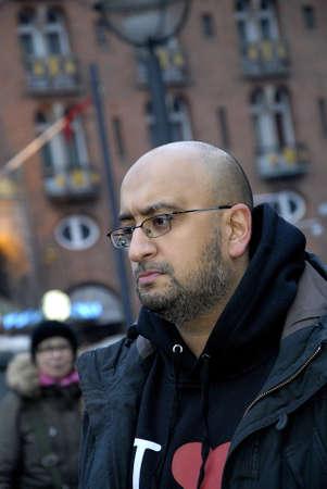 sone: Copenhagen-Denamrk ,  27 Febuary 2015   _Imran Hussain one of arrangers of Peace Proetst at Copenhagen city hall who was inspired  from oslo muslim gethering infron oslo synagigue  sone of pakistani immogarnst  talking to media