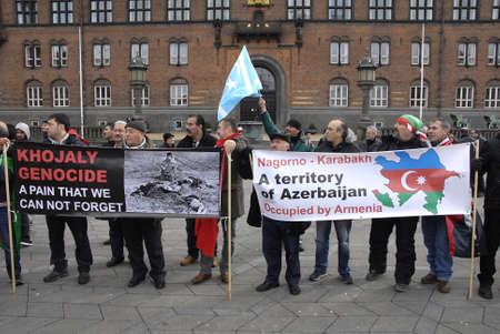 azerbaijanian: Copenhagen-Denamrk ,  28 Febuary 2015 _Turkish and Azerbaijanian living in Denmark staged protest against Armenia claming that Nagorno -Karabaki are a territory of Azerbaijan occupied by Armenia at Copenahgen town hall pladsen today on saturday