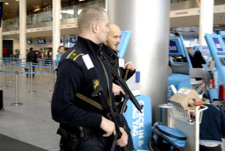 attacked: Kastrup.Copenhagen.Denamrk _Danish police repsents t Copenhagen interntional airport Kastrup after the terrorest attacked in Copenhagen Denmark couple of weeks ago                 03 March 2015 Editorial